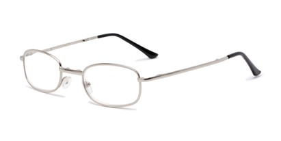 Angle of The Ryder Folding Reader in Silver, Women's and Men's Oval Reading Glasses