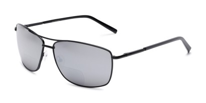 Angle of The Ryker Bifocal Reading Sunglasses in Black with Silver Mirror, Women's and Men's Aviator Reading Sunglasses
