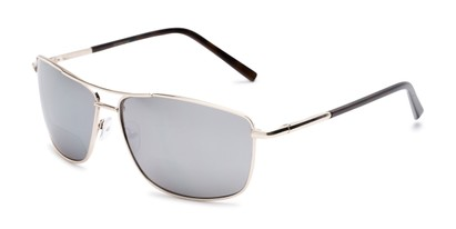 Angle of The Ryker Bifocal Reading Sunglasses in Gold with Silver Mirror, Women's and Men's Aviator Reading Sunglasses