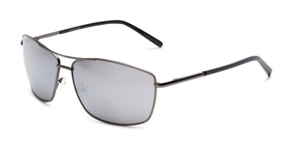 Angle of The Ryker Bifocal Reading Sunglasses in Grey with Silver Mirror, Women's and Men's Aviator Reading Sunglasses