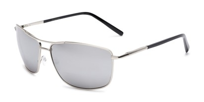 Angle of The Ryker Bifocal Reading Sunglasses in Silver with Silver Mirror, Women's and Men's Aviator Reading Sunglasses