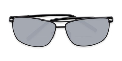 Folded of The Ryker Bifocal Reading Sunglasses in Black with Silver Mirror