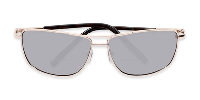 Folded of The Ryker Bifocal Reading Sunglasses in Gold with Silver Mirror
