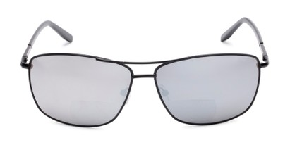 Front of The Ryker Bifocal Reading Sunglasses in Black with Silver Mirror
