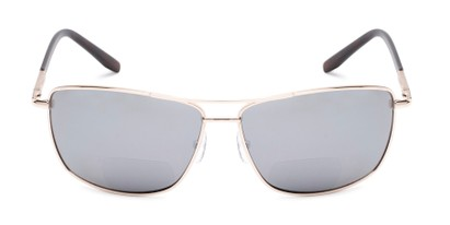 Front of The Ryker Bifocal Reading Sunglasses in Gold with Silver Mirror