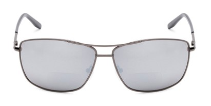Front of The Ryker Bifocal Reading Sunglasses in Grey with Silver Mirror