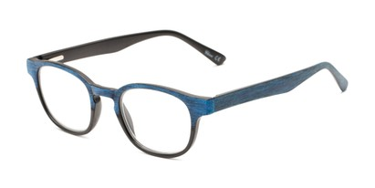 Angle of The Ryland in Black/Blue, Women's and Men's Round Reading Glasses