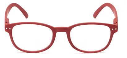 red rectangular reading glass