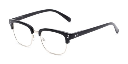 Angle of The Saginaw in Glossy Black/Silver, Women's and Men's Browline Reading Glasses