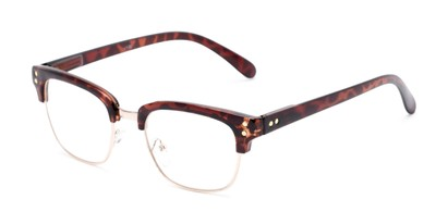 Angle of The Saginaw in Glossy Tortoise/Gold, Women's and Men's Browline Reading Glasses