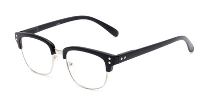 Angle of The Saginaw in Matte Black/Silver, Women's and Men's Browline Reading Glasses