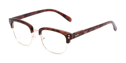 Angle of The Saginaw in Matte Tortoise/Gold, Women's and Men's Browline Reading Glasses