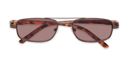 Folded of The San Antonio Reading Sunglasses in Bronze/Tortoise with Amber