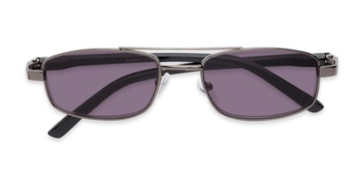 Folded of The San Antonio Reading Sunglasses in Grey with Smoke
