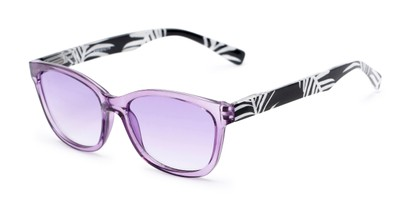 Angle of The Sanibel Tinted Reader in Purple/Print, Women's Cat Eye Reading Glasses