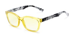 Angle of The Sanibel Tinted Reader in Yellow/Print, Women's Cat Eye Reading Glasses