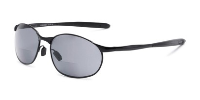 Angle of The Sean Bifocal Reading Sunglasses in Matte Black with Smoke, Women's and Men's Sport & Wrap-Around Reading Sunglasses