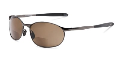 Angle of The Sean Bifocal Reading Sunglasses in Glossy Grey with Amber, Women's and Men's Sport & Wrap-Around Reading Sunglasses