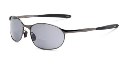 Angle of The Sean Bifocal Reading Sunglasses in Glossy Grey with Smoke, Women's and Men's Sport & Wrap-Around Reading Sunglasses