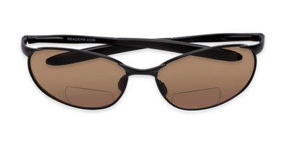 Folded of The Sean Bifocal Reading Sunglasses in Matte Black with Amber