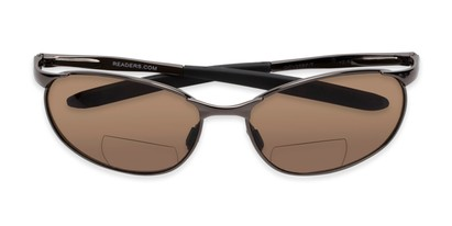 Folded of The Sean Bifocal Reading Sunglasses in Glossy Grey with Amber