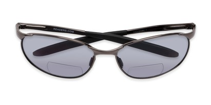Folded of The Sean Bifocal Reading Sunglasses in Glossy Grey with Smoke