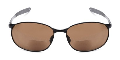 Front of The Sean Bifocal Reading Sunglasses in Matte Black with Amber