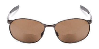Front of The Sean Bifocal Reading Sunglasses in Glossy Grey with Amber