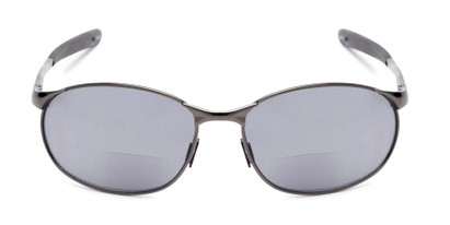 Front of The Sean Bifocal Reading Sunglasses in Glossy Grey with Smoke