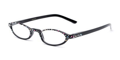 Angle of The Selena in Black Dot, Women's Oval Reading Glasses