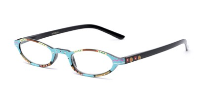 Angle of The Selena in Blue Multi, Women's Oval Reading Glasses