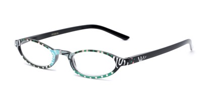 Angle of The Selena in Blue Swirls, Women's Oval Reading Glasses