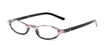 Angle of The Selena in Pink Dot, Women's Oval Reading Glasses