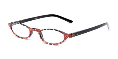 Angle of The Selena in Red Hearts, Women's Oval Reading Glasses