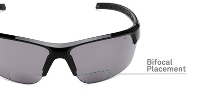 Detail of The Shade Bifocal Safety Reading Sunglasses in Black with Smoke Lenses