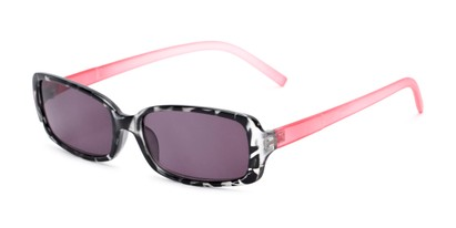 Angle of The Shandy Reading Sunglasses in Black Tortoise/Pink with Smoke, Women's Rectangle Reading Sunglasses