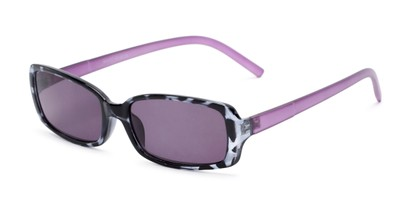 Angle of The Shandy Reading Sunglasses in Black Tortoise/Purple with Smoke, Women's Rectangle Reading Sunglasses
