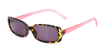 Angle of The Shandy Reading Sunglasses in Brown Tortoise/Pink with Smoke, Women's Rectangle Reading Sunglasses