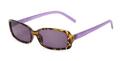 Angle of The Shandy Reading Sunglasses in Brown Tortoise/Purple with Smoke, Women's Rectangle Reading Sunglasses