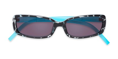 Folded of The Shandy Reading Sunglasses in Black Tortoise/Blue with Smoke