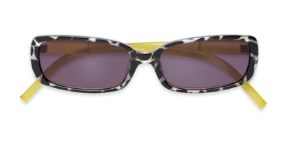Folded of The Shandy Reading Sunglasses in Black Tortoise/Green with Smoke