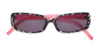 Folded of The Shandy Reading Sunglasses in Black Tortoise/Pink with Smoke