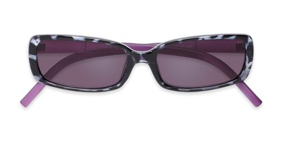 Folded of The Shandy Reading Sunglasses in Black Tortoise/Purple with Smoke