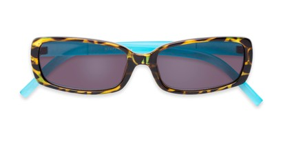 Folded of The Shandy Reading Sunglasses in Brown Tortoise/Blue with Smoke