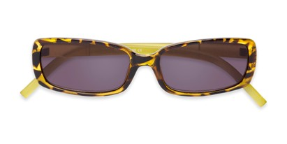 Folded of The Shandy Reading Sunglasses in Brown Tortoise/Green with Smoke