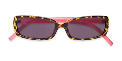 Folded of The Shandy Reading Sunglasses in Brown Tortoise/Pink with Smoke