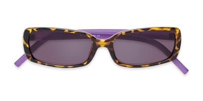 Folded of The Shandy Reading Sunglasses in Brown Tortoise/Purple with Smoke