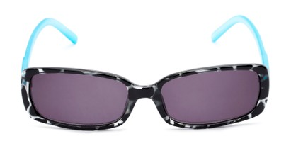 Front of The Shandy Reading Sunglasses in Black Tortoise/Blue with Smoke