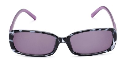 Front of The Shandy Reading Sunglasses in Black Tortoise/Purple with Smoke