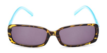 Front of The Shandy Reading Sunglasses in Brown Tortoise/Blue with Smoke